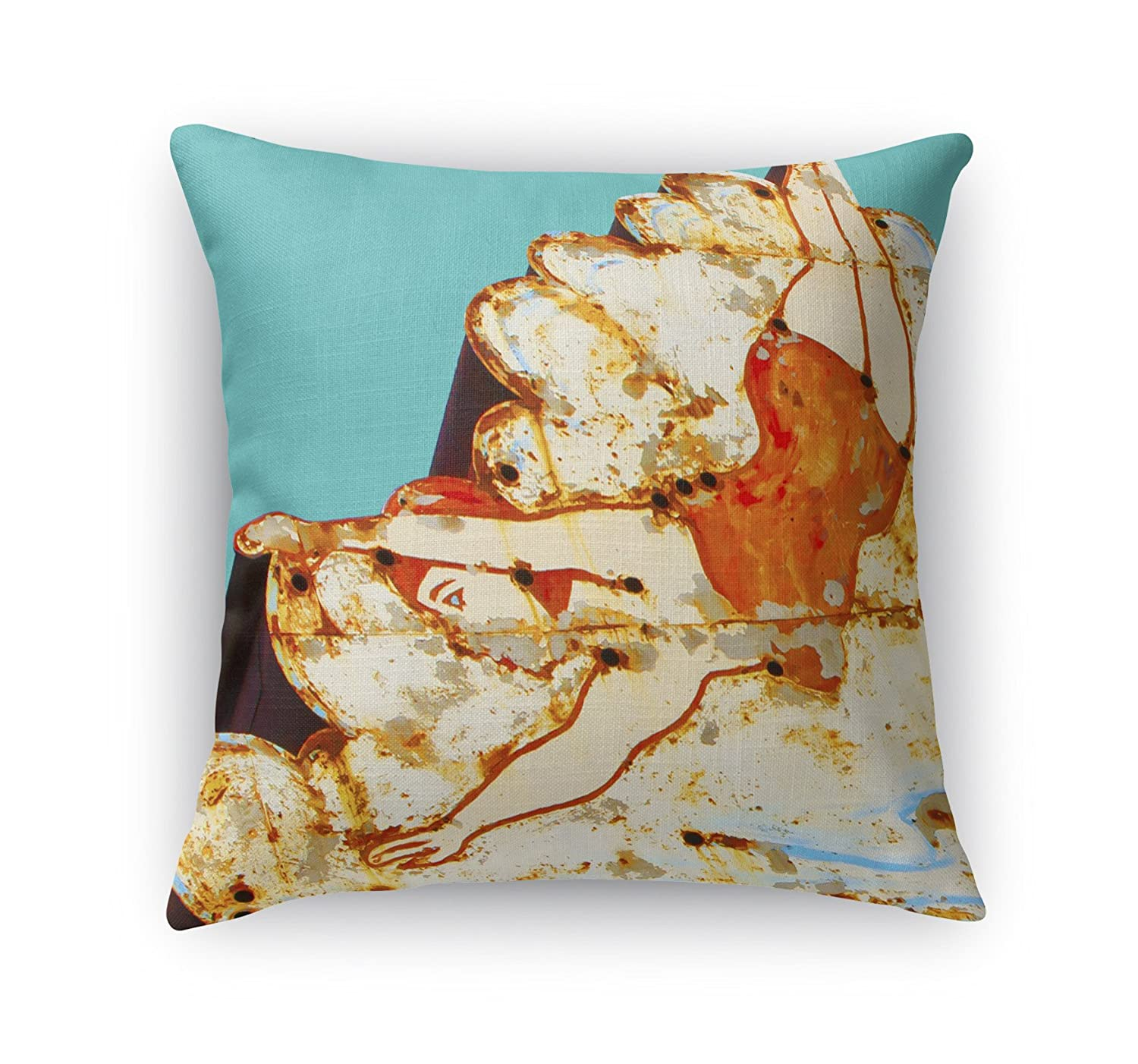 KAVKA Designs Take The Plunge Accent Pillow, (Orange/Ivory/Blue) - Heartland Collection, Size: 18X18X6 - (BOBAVC086DI18)