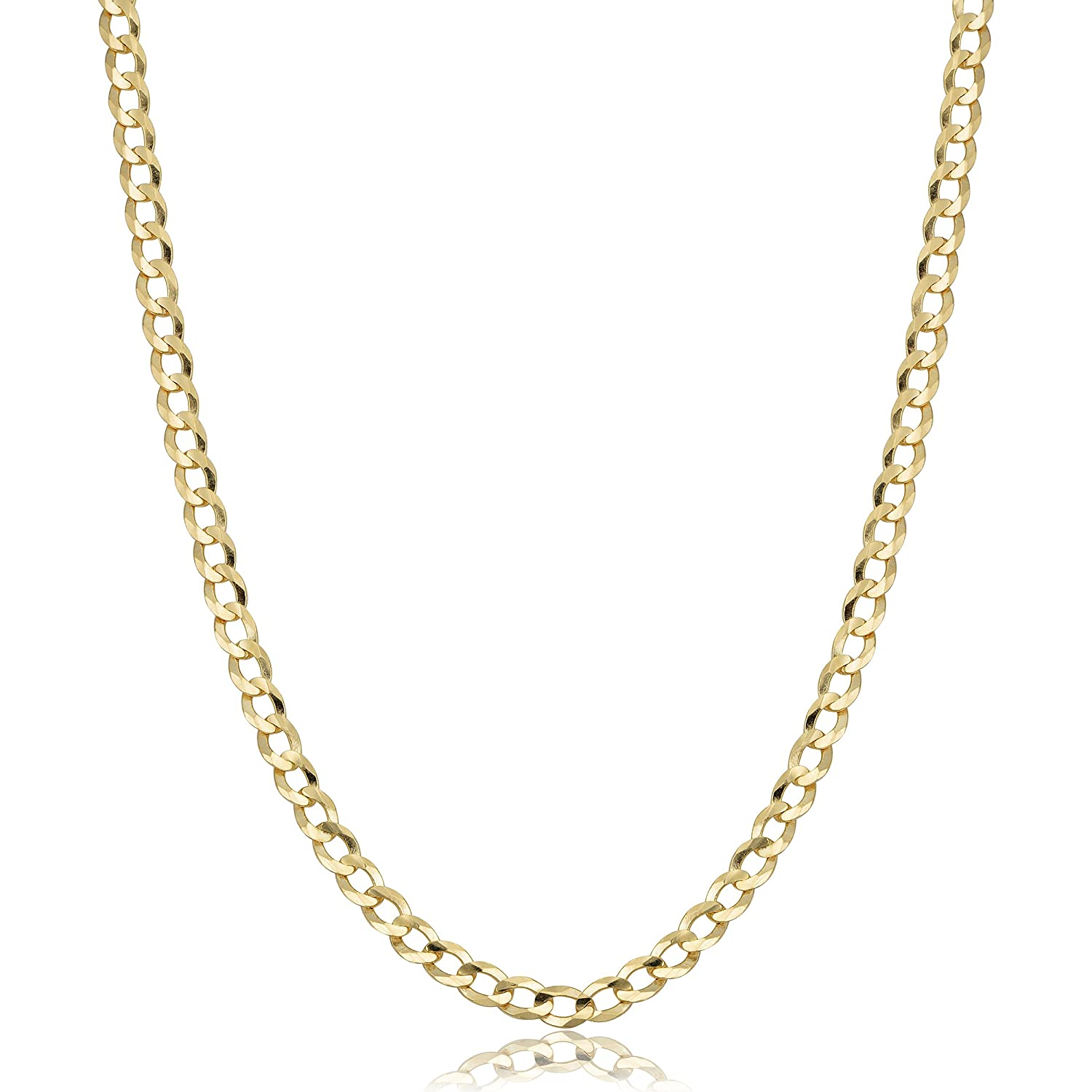 1c09ba5a9a96cd Amazon.com: Mens or Womens 10k Yellow Gold Curb Link Chain Necklace (3.6mm,  18 inch): Jewelry