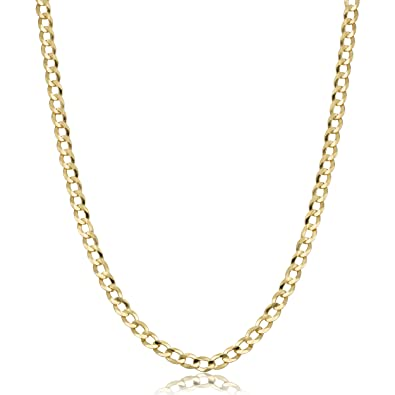 bb9ad75452d Amazon.com  Mens or Womens 10k Yellow Gold Curb Link Chain Necklace ...