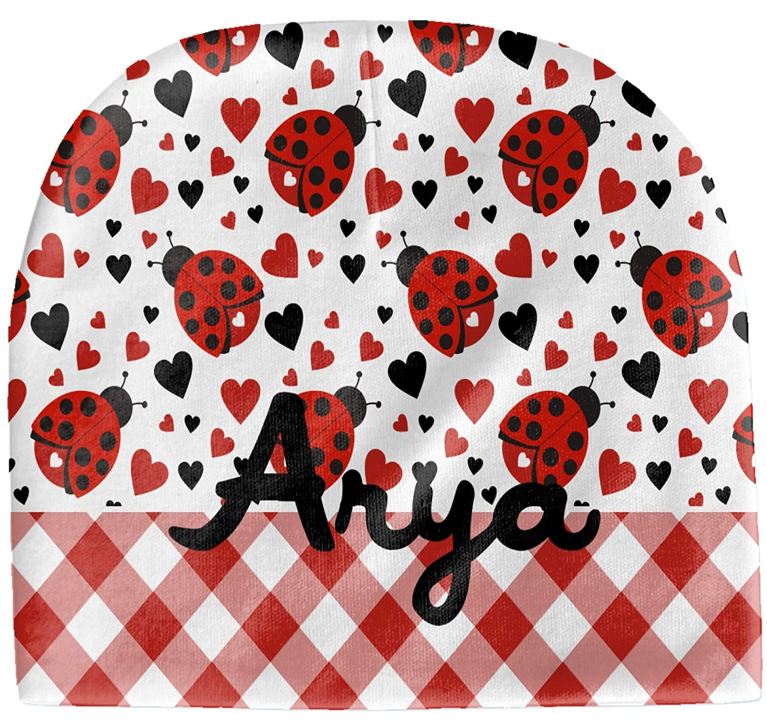 YouCustomizeIt Ladybugs /& Gingham Baby Hat Beanie Personalized red