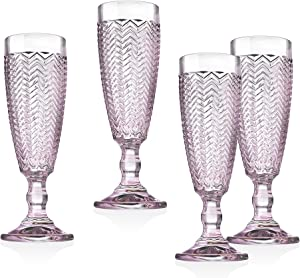 Twill Champagne Flutes Beverage Glass Cup by Godinger – Rose Pink – Set of 4