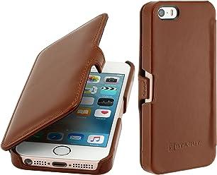 StilGut Book Type Case con Clip, custodia in pelle per Apple iPhone 5, 5s & iPhone SE, Cognac