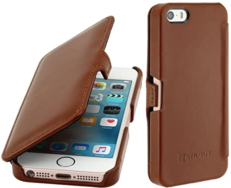 cheap for discount 9d98e cc41d StilGut Book Type with Clip, Genuine Leather Case for Apple iPhone SE,  iPhone 5s, iPhone 5, Cognac Brown