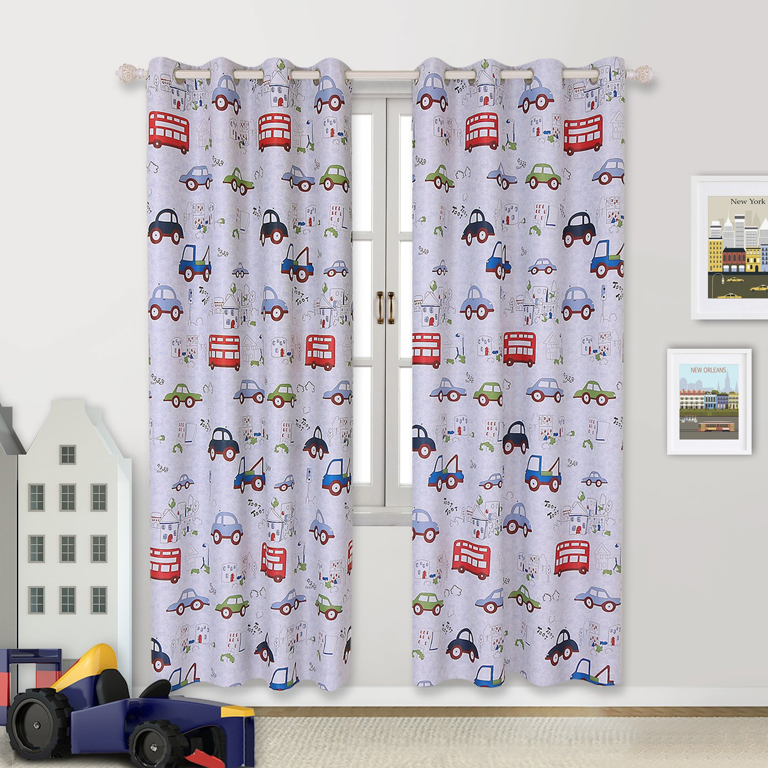 BGment Room Darkening Kids Curtains for Bedroom –Cartoon Car Printed Window Drapes, Metal Grommets Top, 52'' Wx84 L Each Panel, 2 Panels