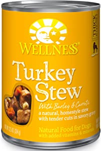Wellness Thick & Chunky Natural Canned Dog Food, Turkey Stew, 12.5-Ounce Can (Pack of 12)
