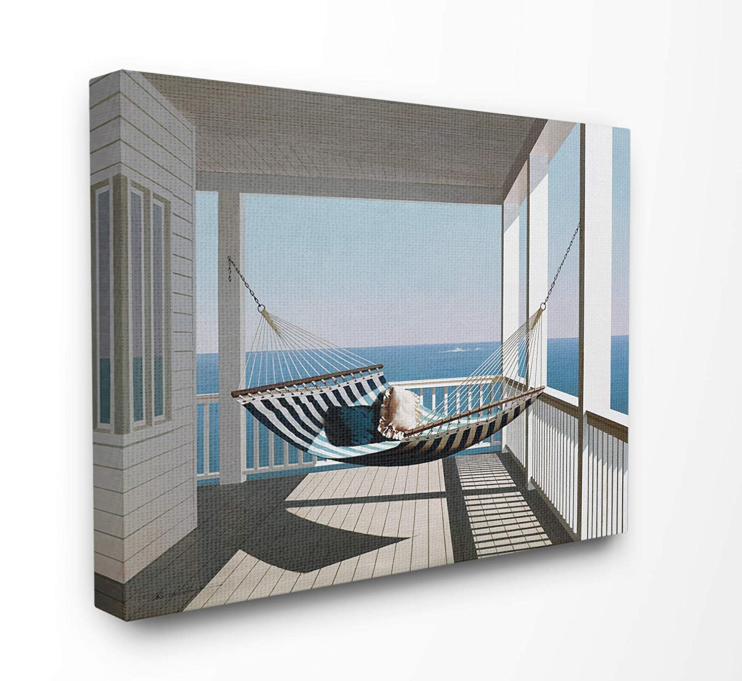 The Stupell Home Decor Blue and White Striped Hammock on The Beach House Porch Framed Giclee Texturized Art Multi-Color 11 x 14