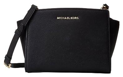 b20c798589 Michael Kors Md Messenger, sac bandoulière femme - Noir - Noir, 23x17x11 cm  (