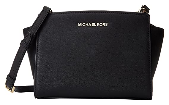 800359a37b3e MICHAEL Michael Kors Women's Selma Medium Messenger Bag, Black, One Size