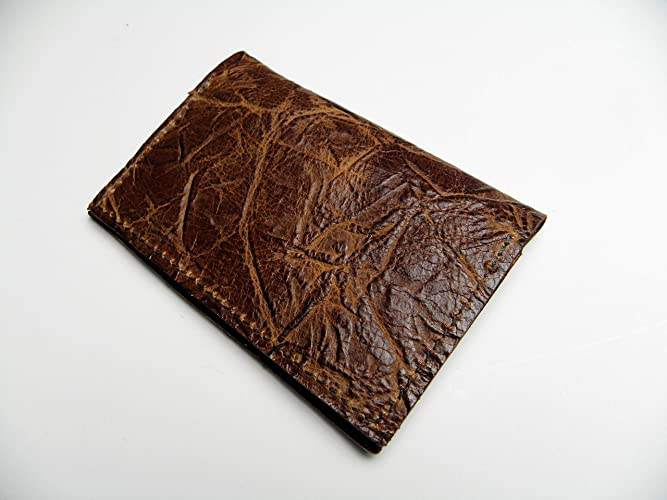c023baa3b027 Amazon.com: Minimalist RFID Wallet Leather Bark Embossed Dark Brown ...