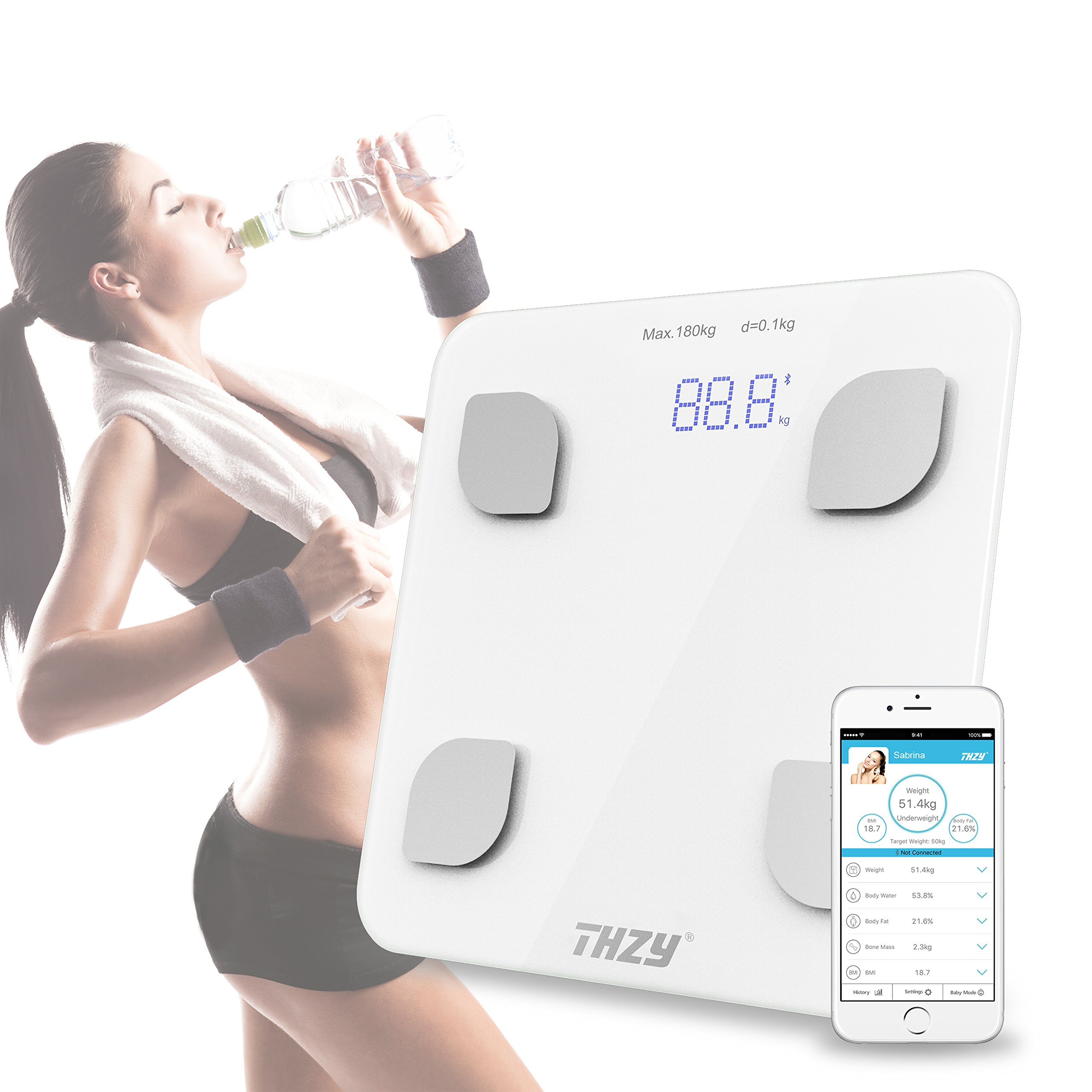 Bluetooth Body Fat Scale - Smart BMI Scale Digital Bathroom Wireless Weight Scale, Body Composition Analyzer with Smartphone App for Body Weight, Fat, Water, BMI, BMR, Muscle Mass, Visceral Fat