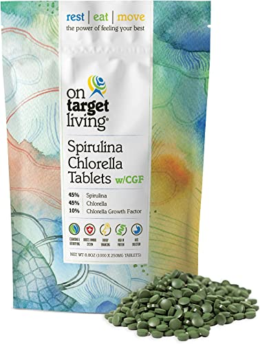 On Target Living Spirulina Chlorella 45 45 10 with CGF 1000 Tablets Vegan Boosts Immune System High in Protein Alkalyzing Nutrient Dense Detoxifying Energy Recovery
