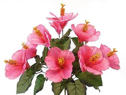 Amazoncom Hibiscus Bush 10 Artificial Silk Flowers 18 Bouquet
