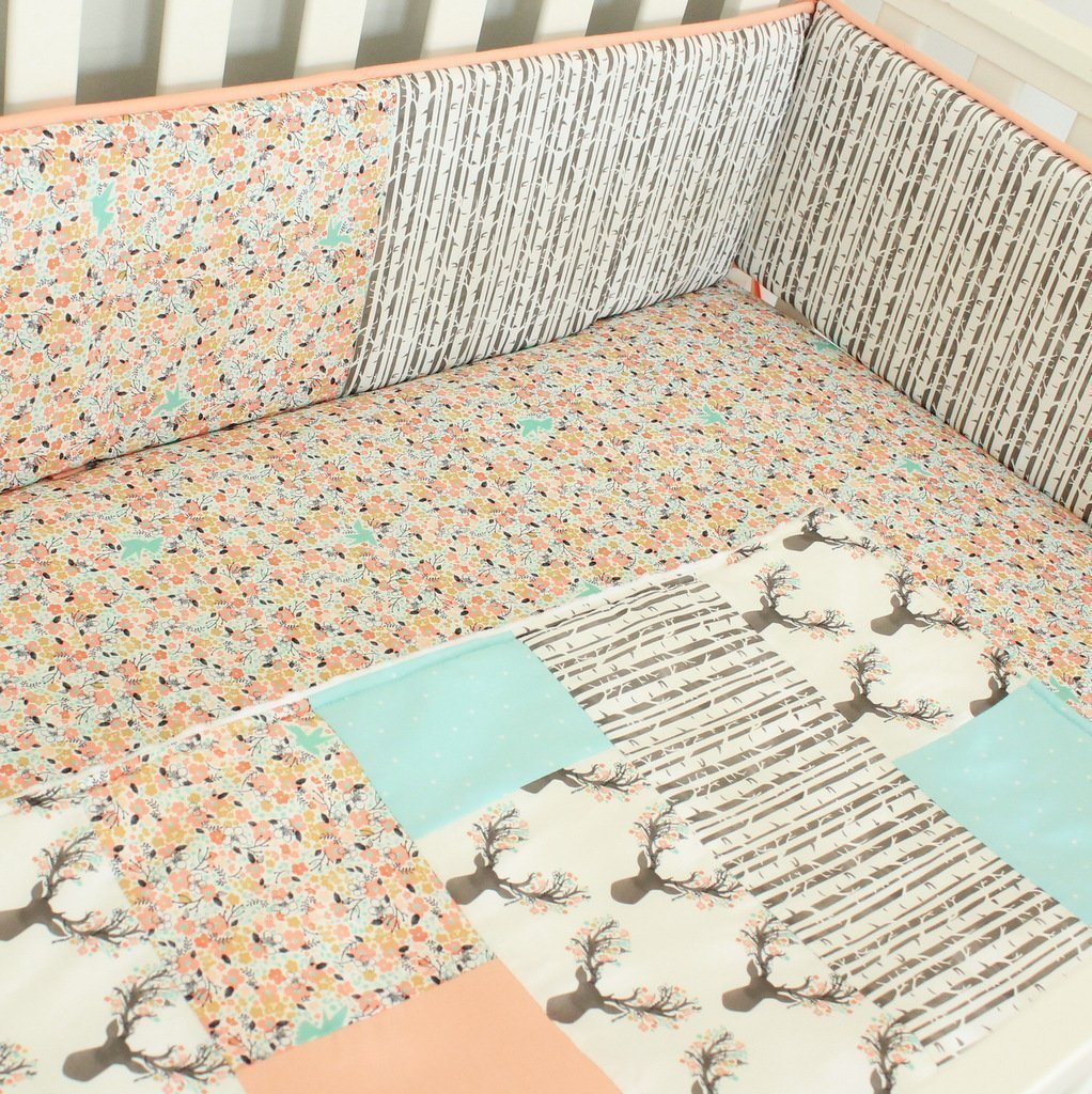 Floral Coral Deer Crib bumper bedding Set-Bumpers, Crib Skirt, Sheet,Quilt