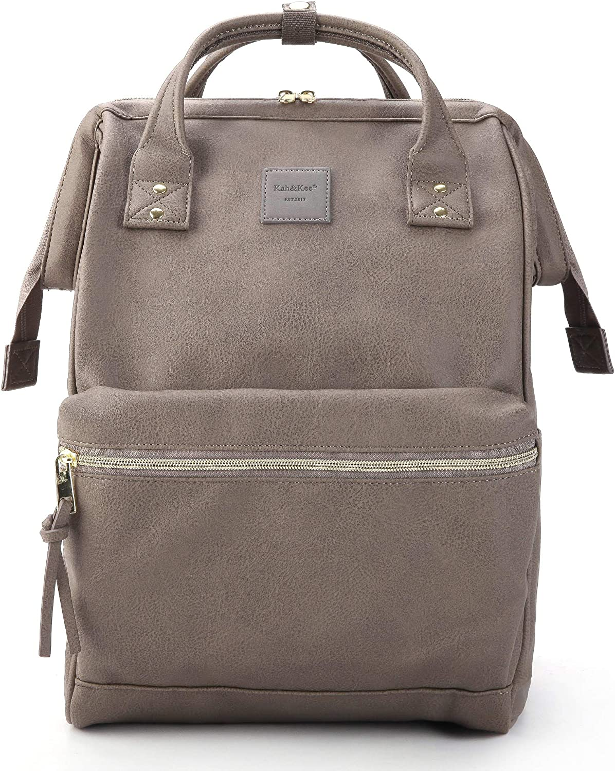 Kah&Kee Leather Backpack Diaper Bag with Laptop Compartment Travel School for Women Man (Gray, Large)