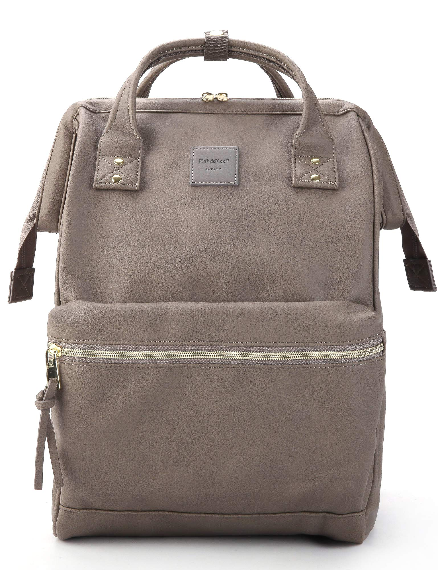 Kah&Kee Leather Backpack Diaper Bag with Laptop Compartment Travel School for Women Man (Gray, Large) by Kah&Kee