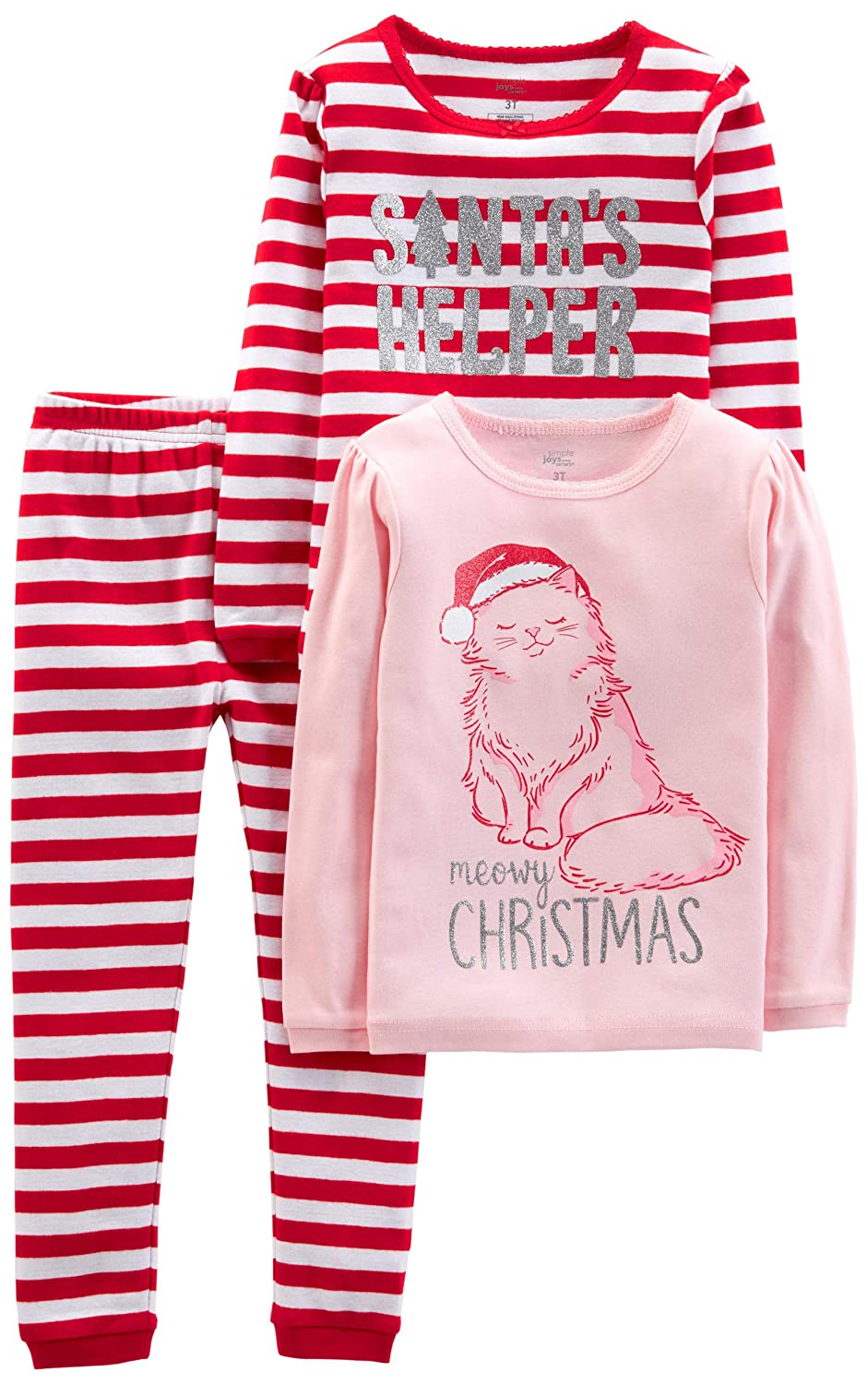 Little Kid Simple Joys by Carters Baby and Toddler Girls 3-Piece Snug-Fit Cotton Christmas Pajama Set