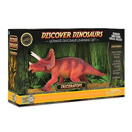 amazon com triceratops action figure includes real dinosaur bone