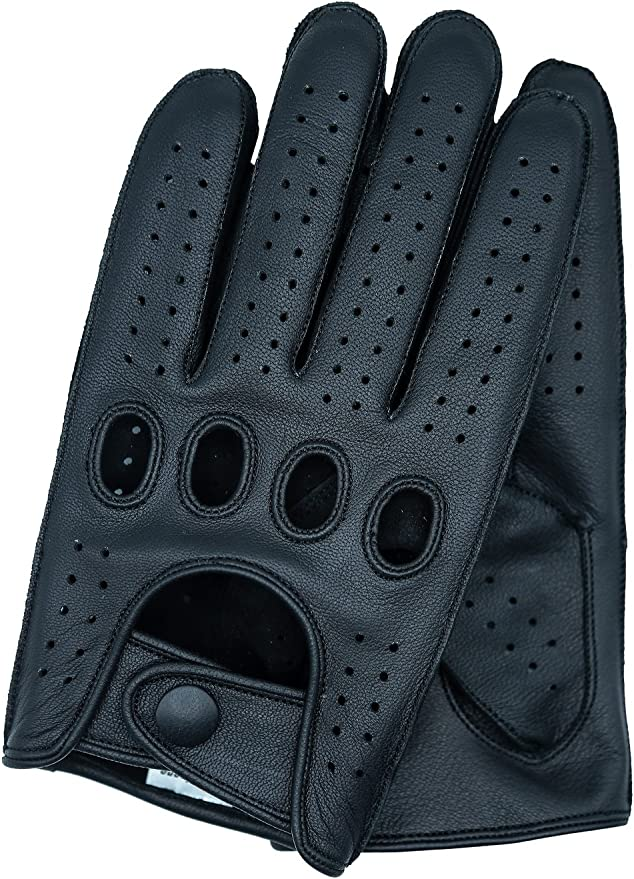 Genuine soft Leather Reverse Stitched Full-Finger Driving Gloves Fashion Classic