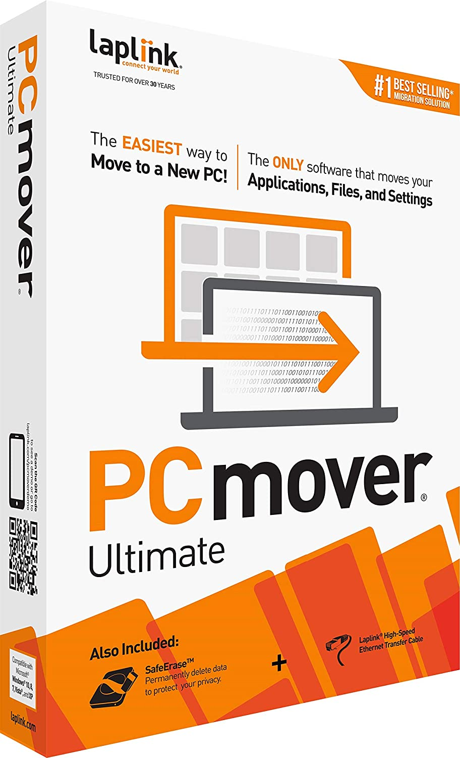 Laplink PCmover Ultimate 11 | Moves your Applications, Files and Settings from an Old PC to a New PC | Includes Optional Ethernet Cable | 1 Use