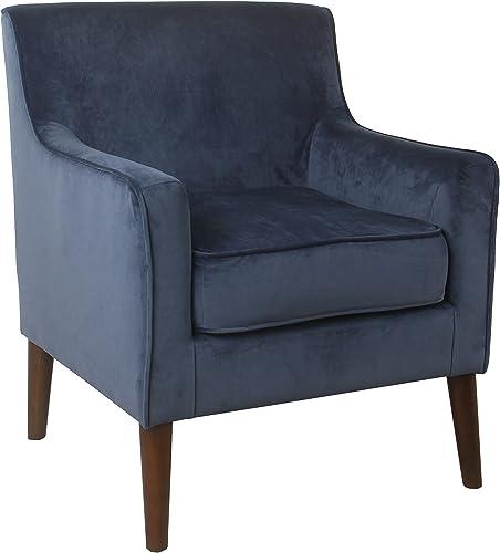 Spatial Order Kaufmann Modern Velvet Accent Chair, Blue Velvet