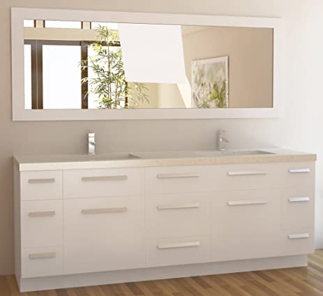 Charming Design Element Moscony Double Sink Vanity Set With White Finish, 84 Inch