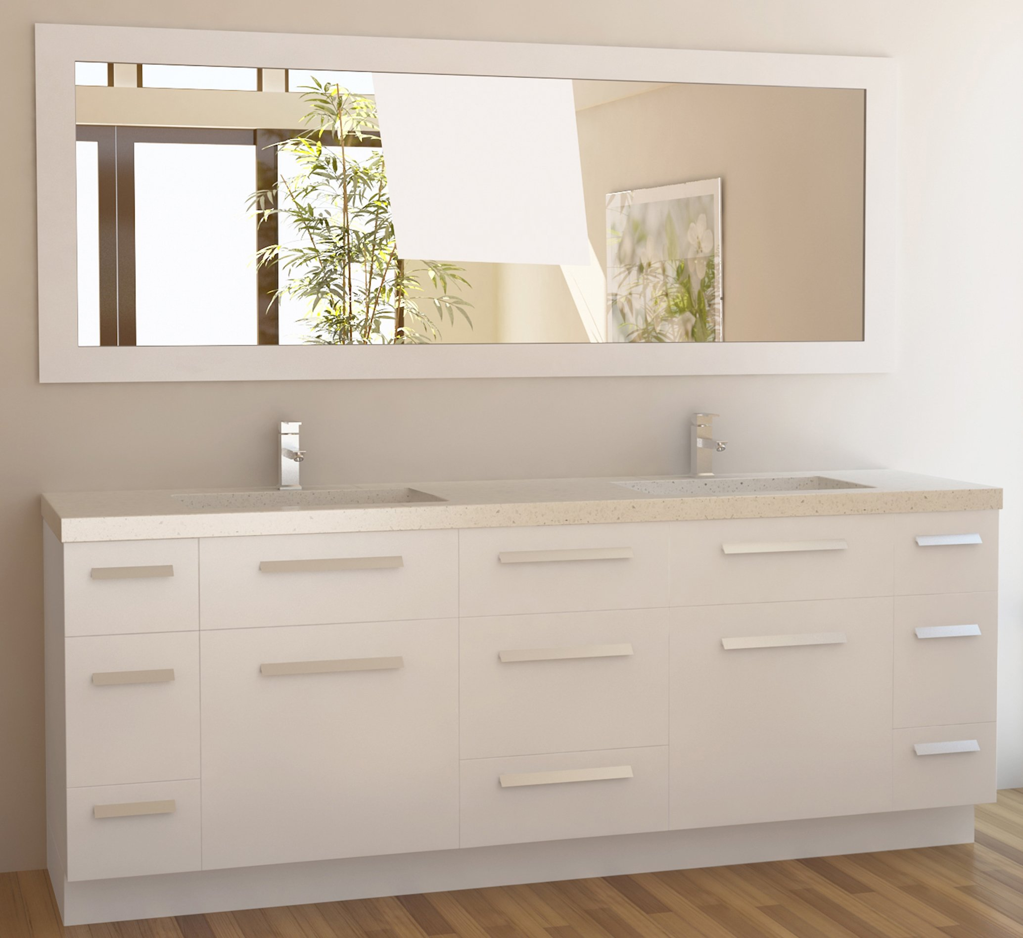 Design Element Moscony Double Sink Vanity Set with White Finish, 84-Inch by Design Element