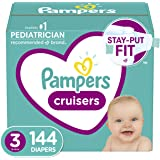 Diapers Size 3, Pampers Cruisers Disposable Baby Diapers, 144 Count, Huge Pack (Packaging May Vary)