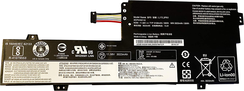 BOWEIRUI L17L3P61 (11.58V 36Wh 3108mAh) Laptop Battery Replacement for Lenovo IdeaPad Yoga 720-12IKB Yoga 320-11 520-12 320S-13IKB Xiaoxin 7000-13 Series L17C3P61 L17M3P61 (Type B)