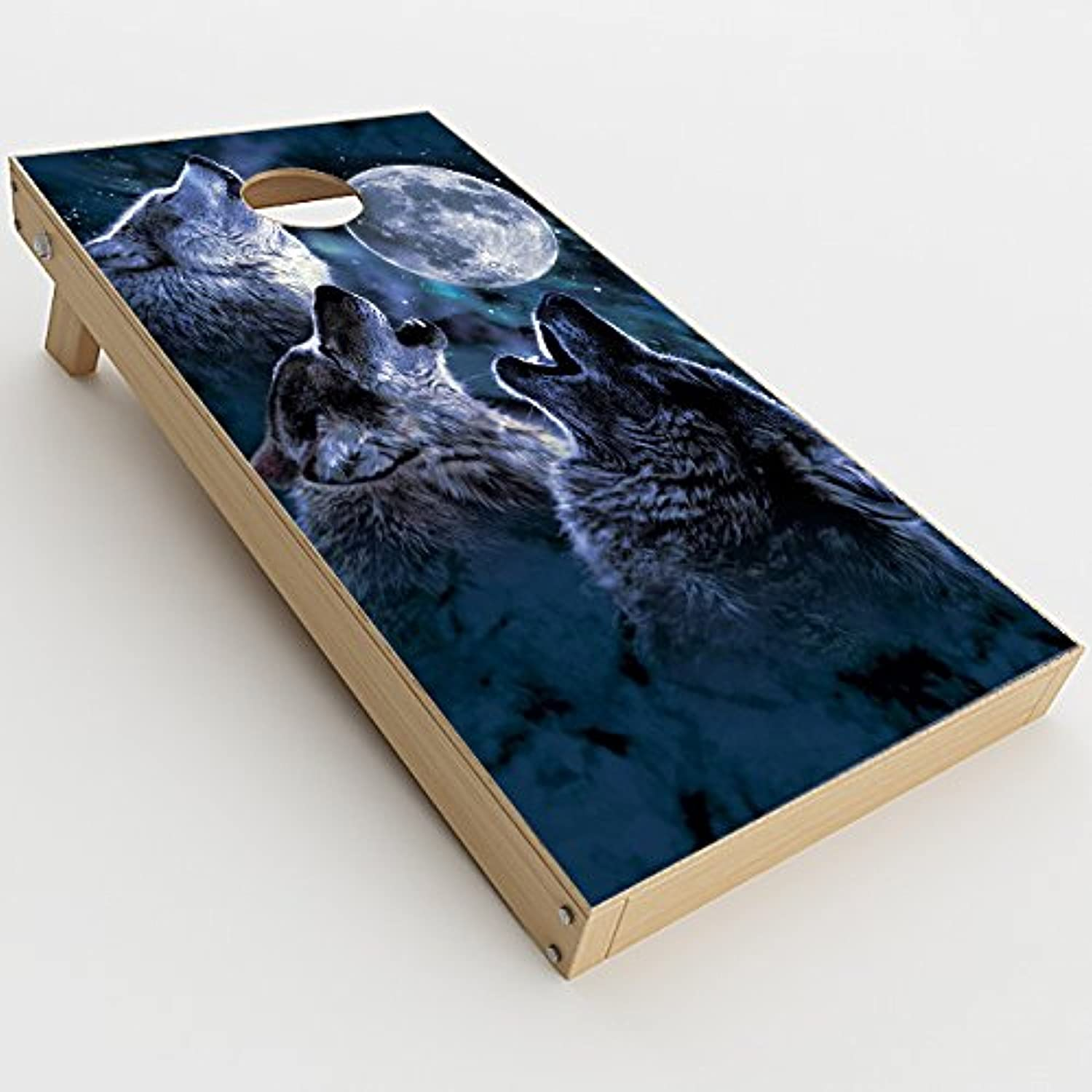 // Wolf howling at Moon 2xpcs. Skin Decals for Cornhole Game Board