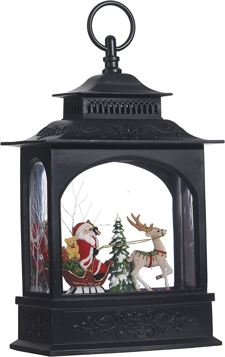 "Raz Imports Holiday Water Lanterns 11"" Santa in Sleigh Lighted Water Lantern - Premium Christmas Holiday Home Decor"