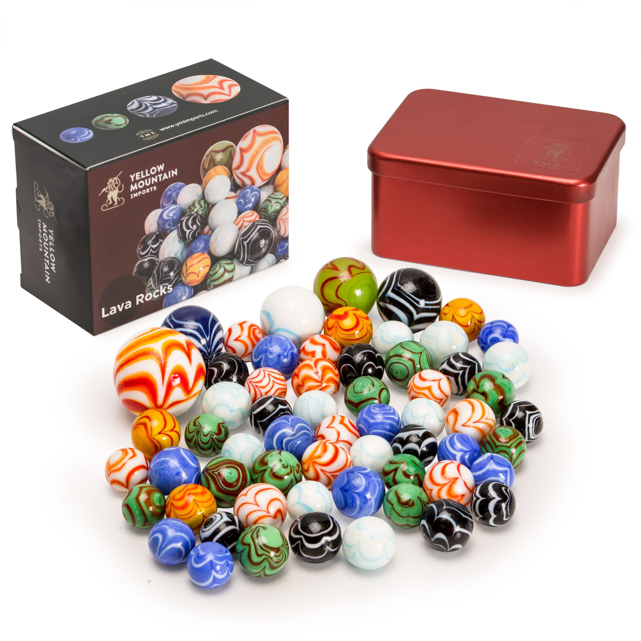 "Yellow Mountain Imports Marbles Set in Tin Box, ""Lava Rocks"""