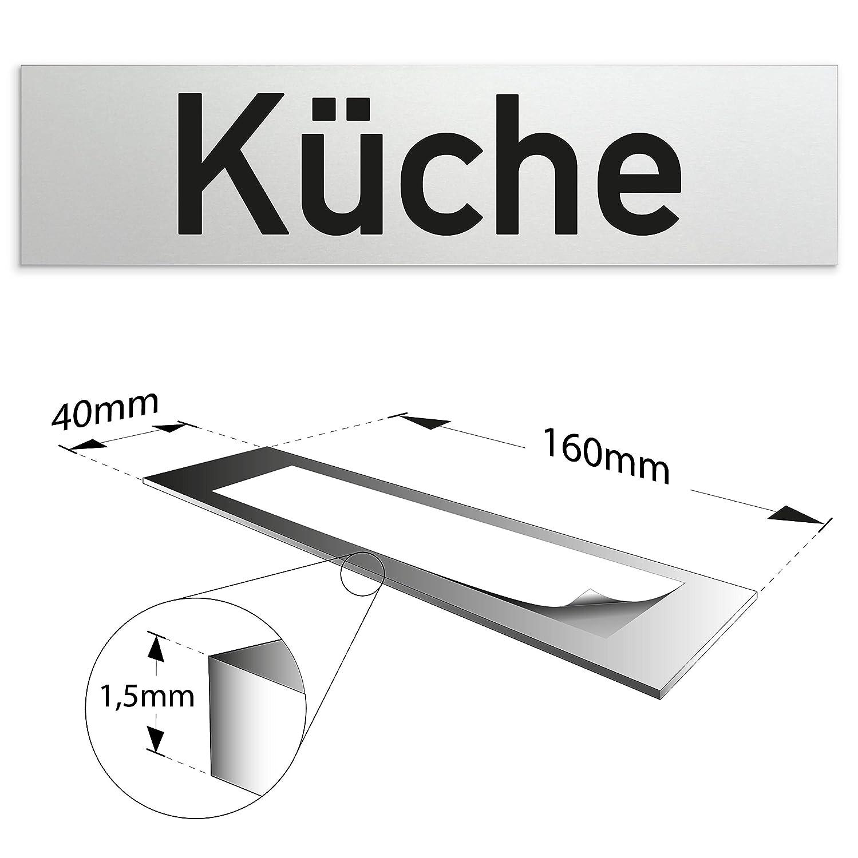 WC T/ürschild 160 x 40 x 1,5 mm aus Aluminium selbstklebend | Oberfl/äche in geschliffener Edelstahloptik eloxiertes Vollmaterial