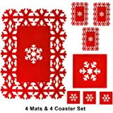 Esteras de lugar de Navidad y conjunto de montaña Copo de nieve cena mesa Alfombras de fieltro rojo 8PC