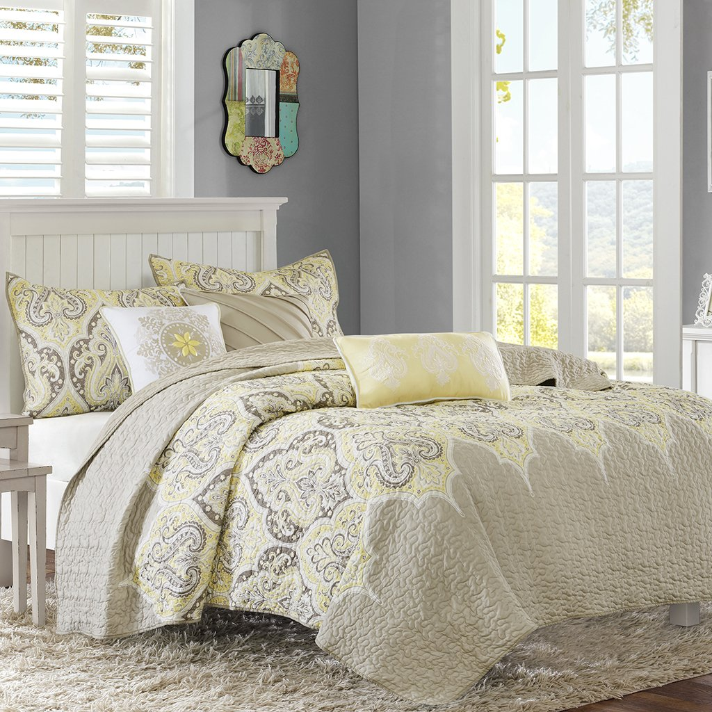 Madison Park MP13-3029 Nisha 6 Piece Quilted Coverlet Set, Full/Queen, Yellow