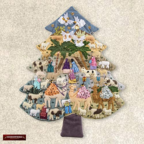 Quilted Christmas Tree Wall Hanging 21.2 H from Peru, patchwork quilt christmas ornament, Arpillera Pine Tree Applique with nativity scene
