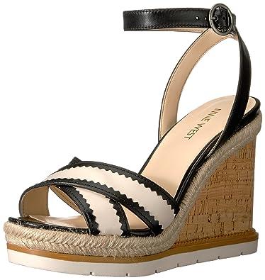 5af61b18794f Nine West Women s Vaughn Leather Wedge Sandal Black Off White 7 ...