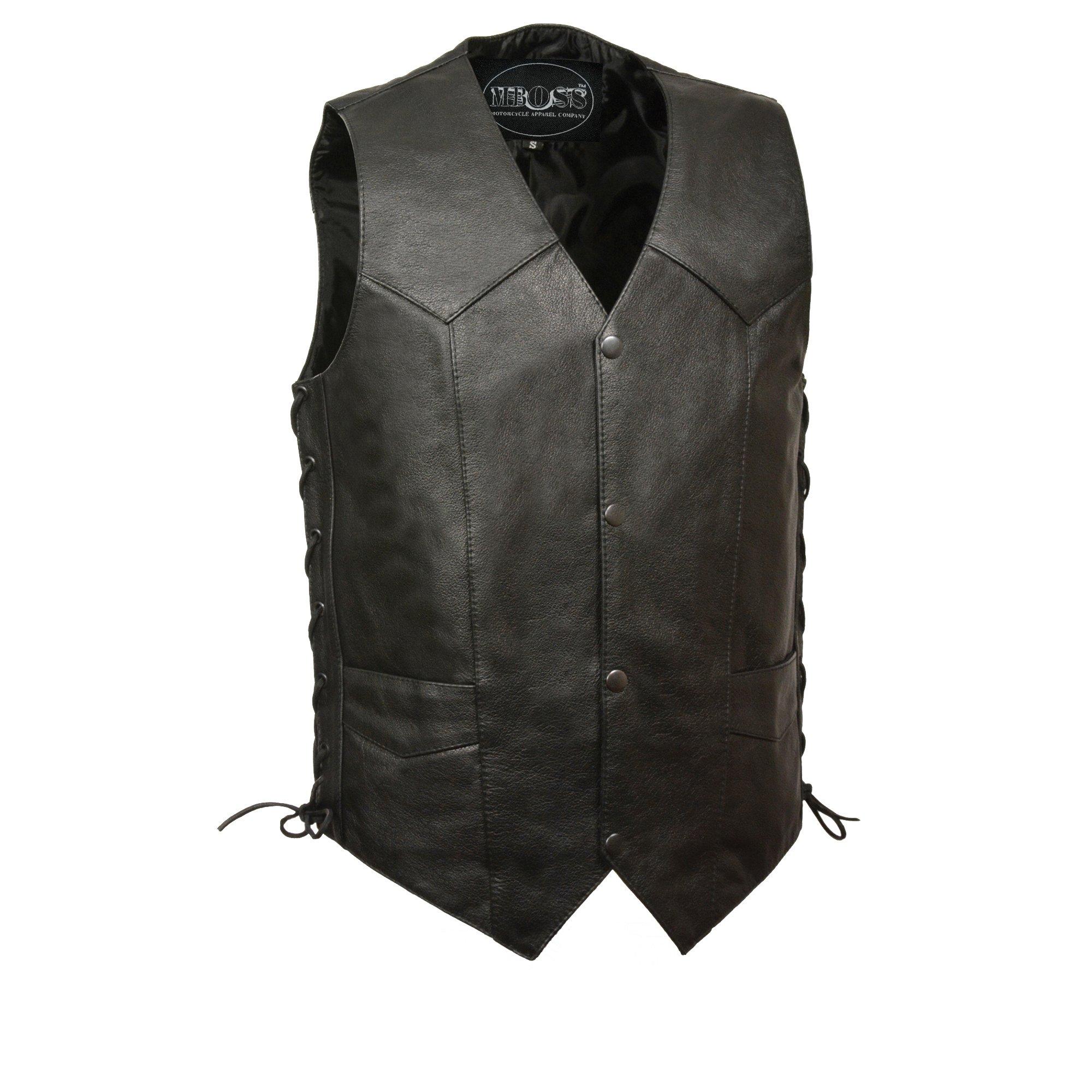 M-BOSS MOTORCYCLE APPAREL-BOS13515-BLACK-Men's concealed carry single back panel classic biker leather vest.-BLACK-38