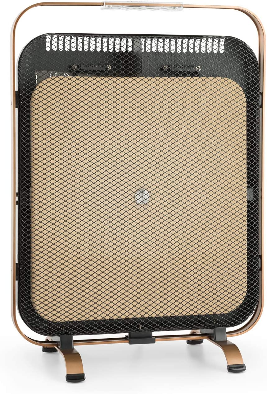 Klarstein HeatPal Marble Blackline radiador infrarrojo - Radiador portátil, Radiador Vertical, 1300 W, para Salas de 30 m², Función para conservar el Calor, Placa de mármol, Aluminio, Cobre