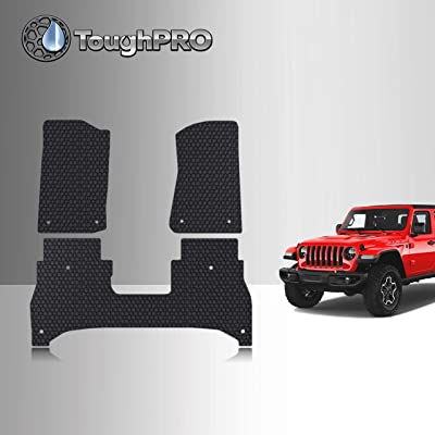 TOUGHPRO Floor Mat Accessories Set Compatible with Jeep Gladiator - All Weather - Heavy Duty - (Made in USA) - Black Rubber - 2020 (Front Row + 2nd Row): Automotive