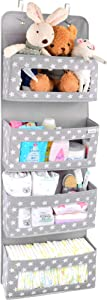 Vesta Baby Over the Door Hanging Organizer - Unisex Space-Saving 4-Pocket Storage Solution for Closet, Children's Room, Nursery - Clear-Window Caddy - 2 Utility Pockets for Small Items and Accessories