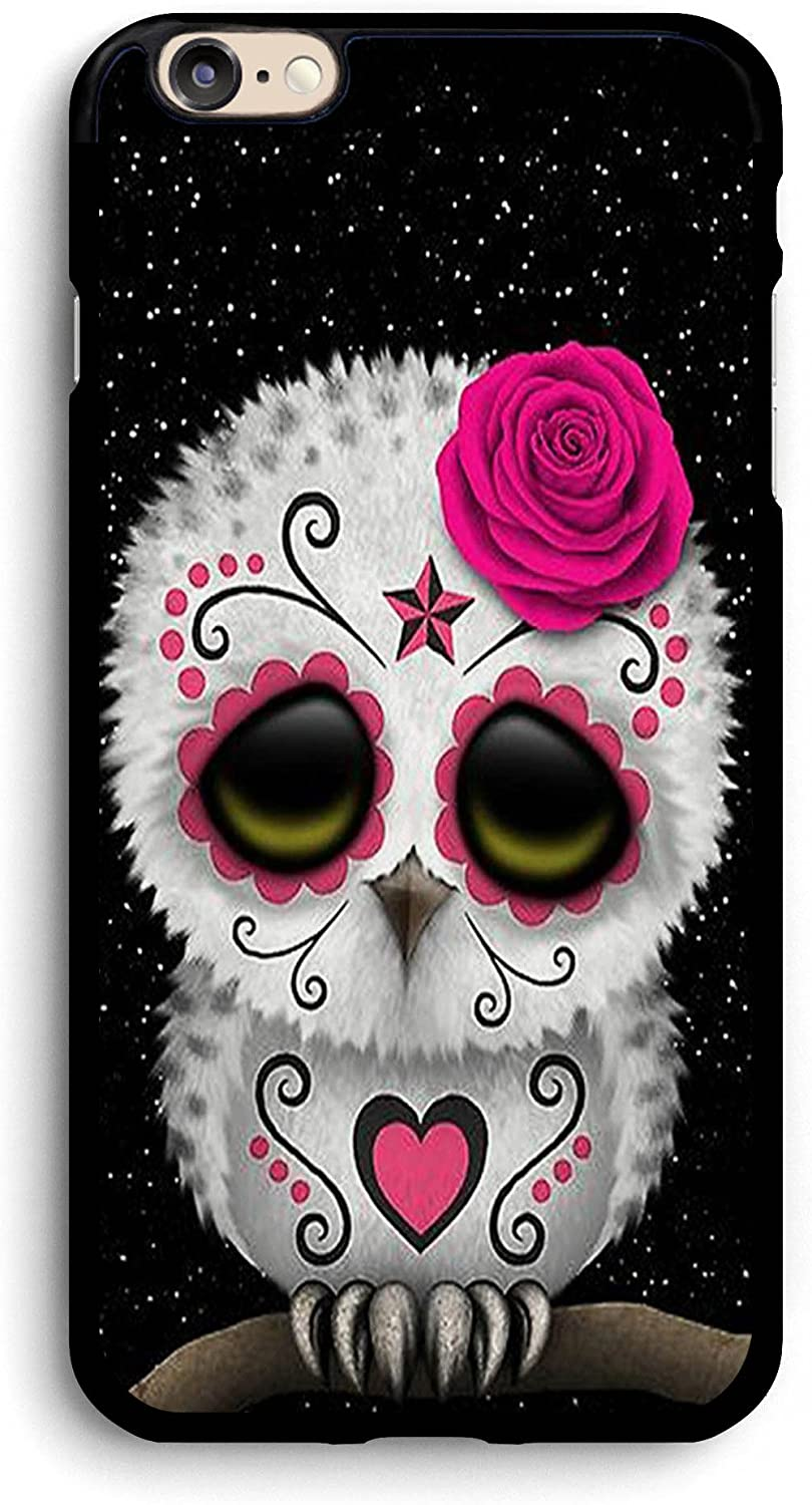 Cute Red Day of The Dead Sugar Skull Owl iPhone Case,PC Hard Case for iPhone (6 Plus/6s Plus)
