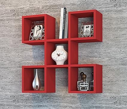 CAPRI Mensola da muro - Rosso - Mensola Parete - Mensola Libreria ...
