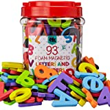 Magnetic Foam Letters and Numbers Premium Quality ABC, 93 Foam Alphabet Magnets | Educational Toy for Preschool Learning, Spe