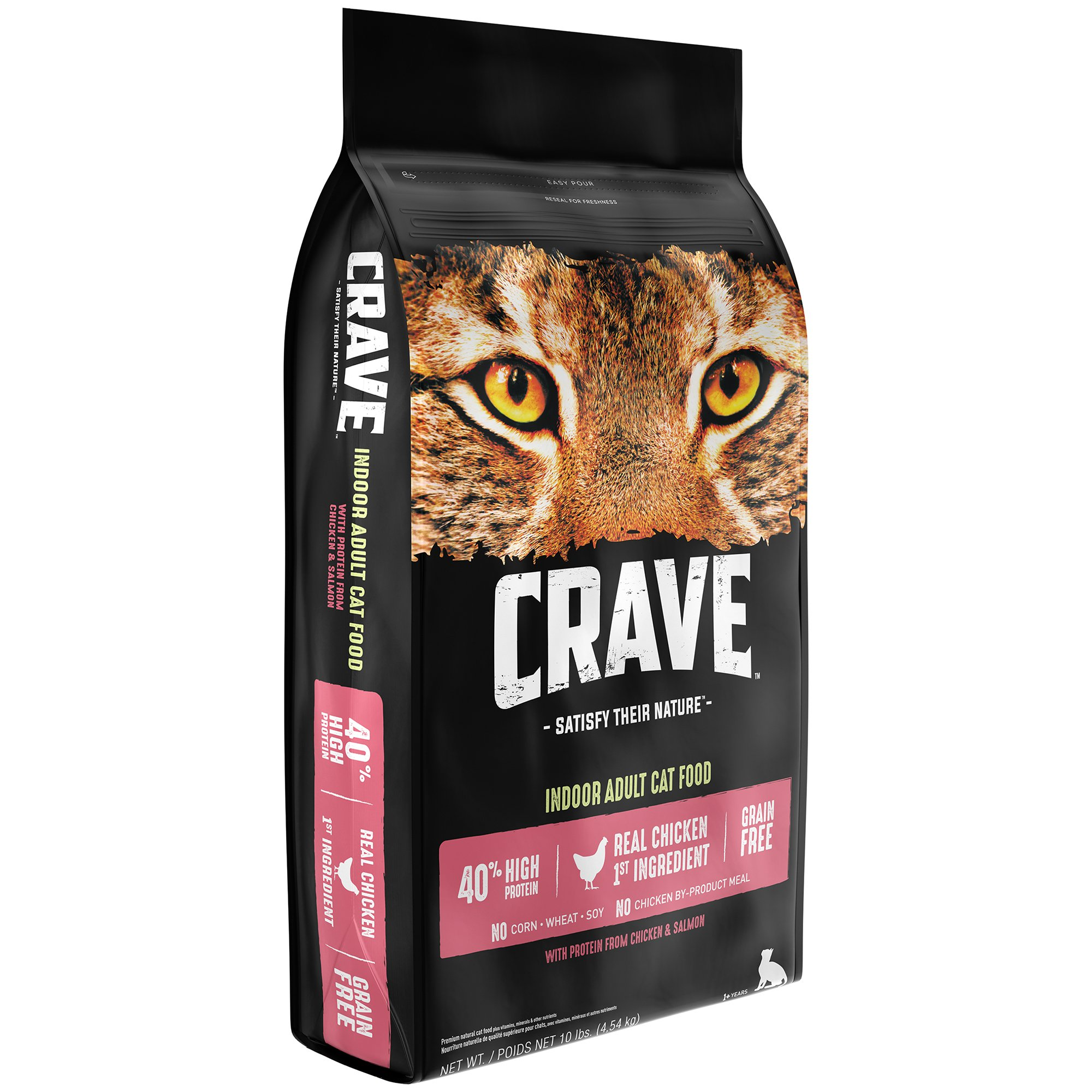 Crave Grain Free With Protein From Chicken & Salmon Dry Indoor Adult Cat Food, 10 Pound Bag by CRAVE