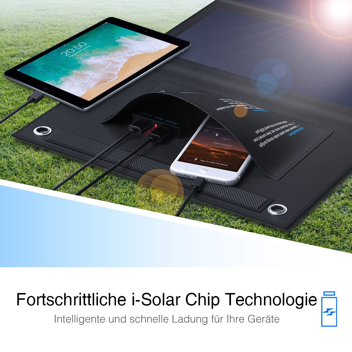 POWERADD 24W Faltbar Solarpanel mit USB Anschlüsse für Handys, Tablets und andere USB-Geräte