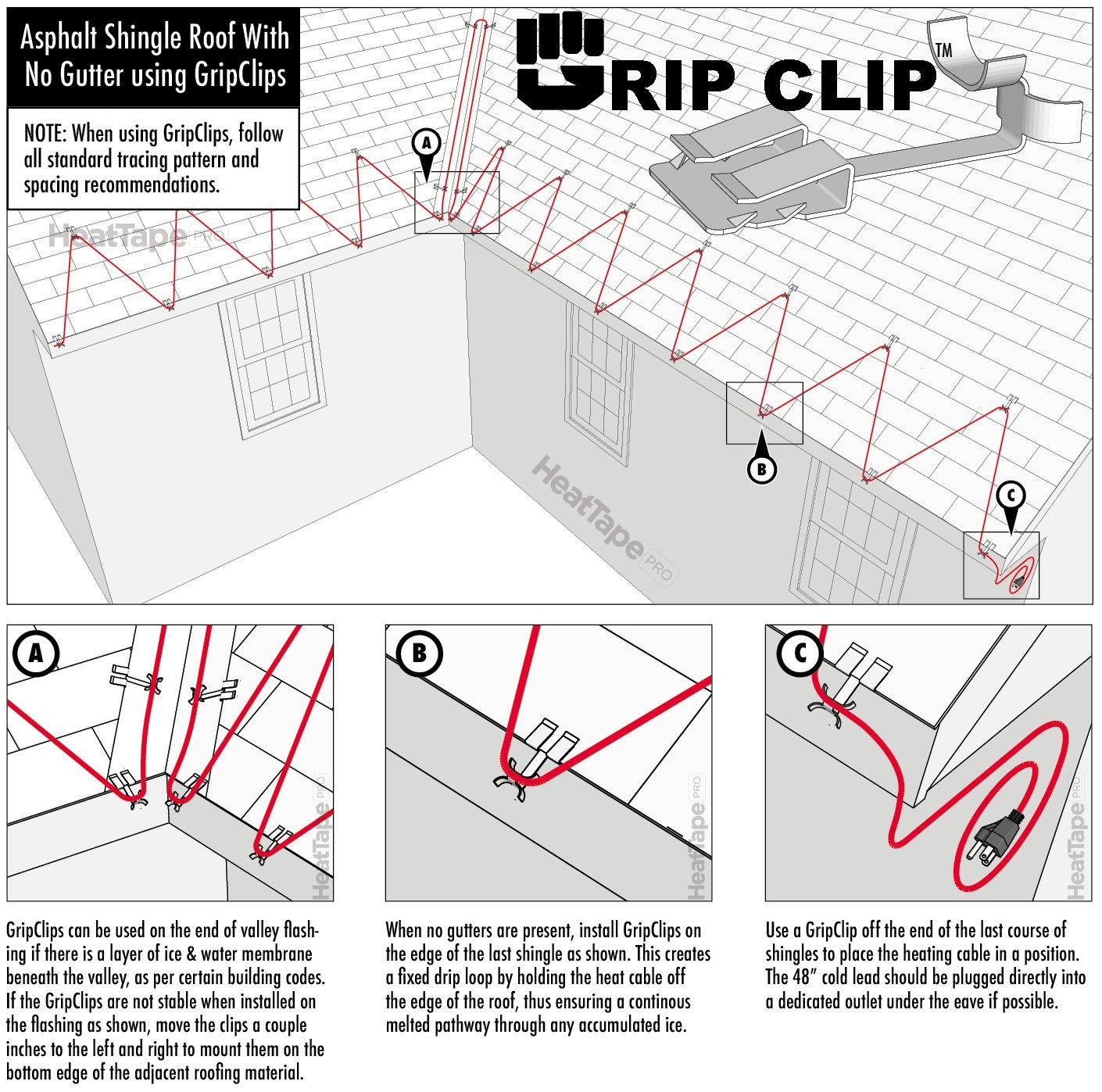 Grip Clip Roof Cable For Securing Ice Dam Heat Tape Wiring In Series Free Download Diagrams Pictures And Holiday Lighting To Roofs 25pack Anodized Black