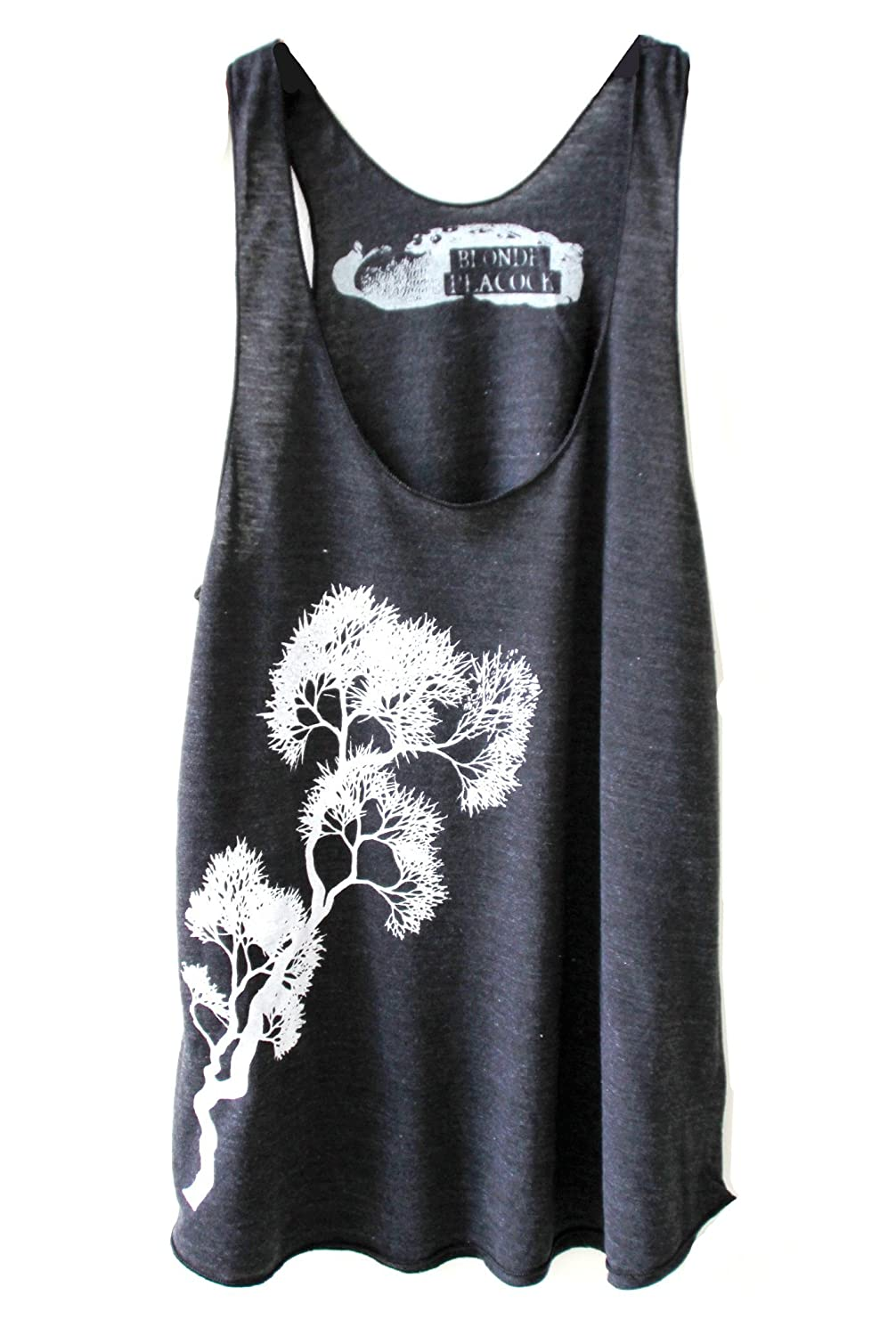 Women's Black and White Tree Branch Design Loose Fit Racerback Yoga Tank Top