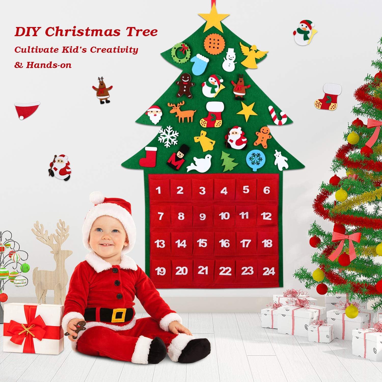 Arbol de Navidad Fieltro, Wokkol 3.3ft DIY Árbol de Navidad de Fieltro Arbol de Navidad en Fieltro Árboles de navidad con 29Pcs Adornos Arbol Navidad Desmontables Año Nuevo Navidad Regalo para Niños