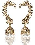 Shining Diva Traditional Jewellery White Antique Fancy Party Wear Jhumki Jhumka Ear Cuffs Earrings For Women & Girls