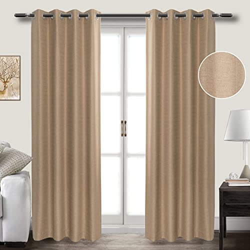 Linen Look Cotton Darkening Blackout Window Curtains 84 Inch Length Grommet Thermal Insulated Panel